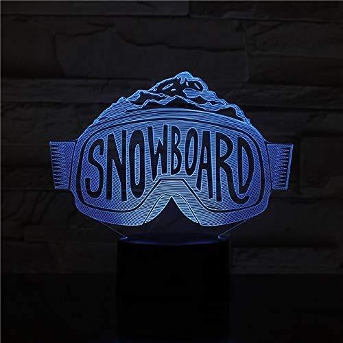 Snowboard Shape 3D Nachtlicht für Kinder Jungen und Mädchen USB-Aufladung und Touch Control 7 Farbvariationen Weihnachtsgeburtstag Weihnachtsdekoration