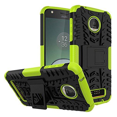 SCIMIN Capa para Motorola Moto Z Play à prova de choque, capa híbrida para Moto Z Play Droid, proteção de camada dupla à prova de choque, capa rígida híbrida resistente com suporte para Motorola Moto Z Play de 5,5 polegadas (verde)