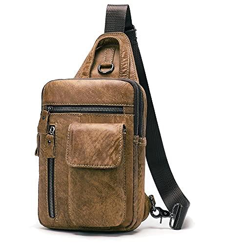 Bolsa de pecho de piel de cuero Messenger Bag Head Capacidad de gran capacidad Bolso de hombro Bolso de la tableta de 7,9 pulgadas-Marrón amarillento