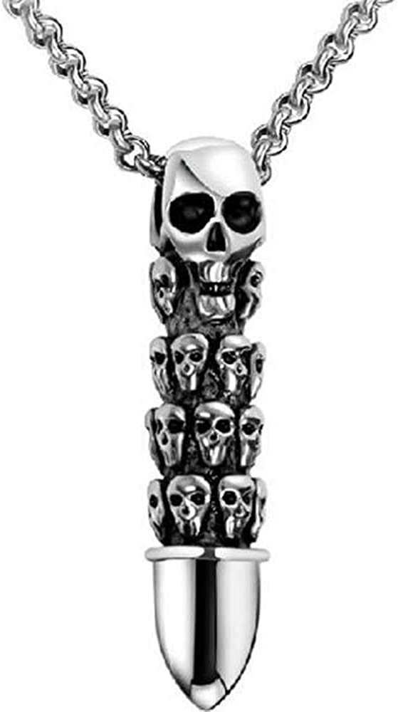 Jude Jewelers Vintage Skull Gothic Bullet Style Cocktail Party Biker Halloween Pendant Necklace