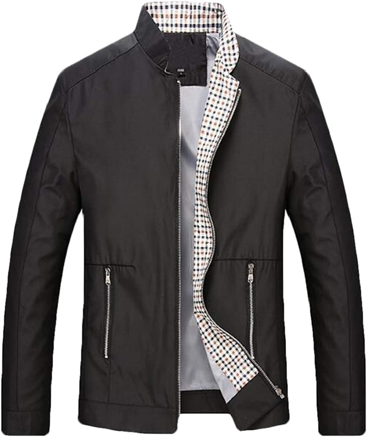707741b0ef UUYUK Men Relaxed-Fit Stand Collar Office Casual Relaxed-Fit Moto Moto Moto  Jackets f03965