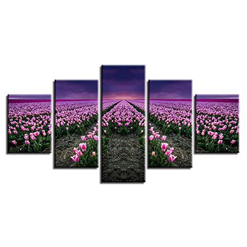 Muurkunst decoratie woonkamer druk HD afbeelding 5 stuks roze tulpe bloemenveld zonsondergang landschap poster modulaire schilderijen canvas (geen lijst) 40x60 40x80 40x100cm