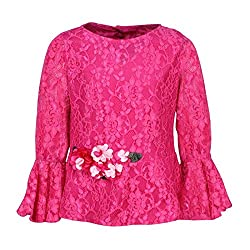 Cutecumber Girls Lace Fabric Embellished Magenta Top