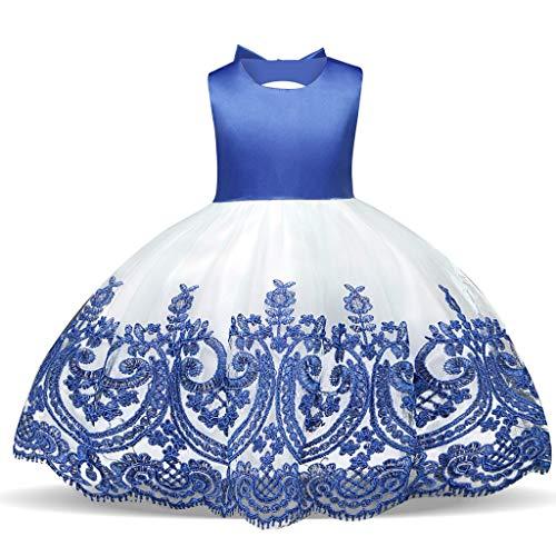 WUSIKY WUSIKY Baby Giels Kleid, Kind Mädchen Spitze Bowknot Prinzessin Hochzeit Leistung Formal Tutu Kleid Kleidung Minikleid Sommerkleid Elegant Lässige Rock Kinder Geschenk(80,Blau)