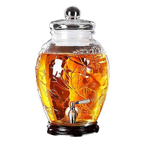CSQHCZS-FQ 6 L / 8L glazen drankdispenser met lekvrije tape, stabiele stand en glazen deksel, drankdispenser voor limonade, thee, koud water ++