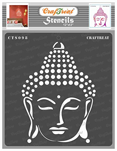 CrafTreat Buddha Stencils for Painting on Wood, Canvas, Paper, Fabric, Floor, Wall and Tile - Buddha - 12x12 Inches - Reusable DIY Art and Craft Stencils - Wall Decor Stencils - Buddha Stencil