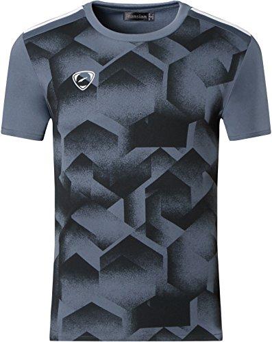 jeansian Herren Sport Dry Fit Kurzarm T-Shirt Tee Shirt Tshirt Tops Running LSL204 Gray XL