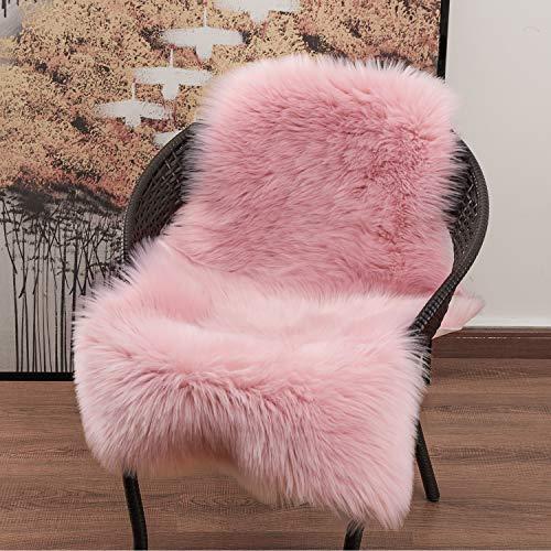 YOH Soft Faux Sheepskin Chair Cover Seat Cushion, Modern Imitation Sheepskin Plush Carpets Fluffy Shaggy Area Rugs for Bedroom Living Room Home Decor 2 x 3 ft (Pink)