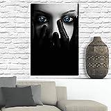 Wandkunst Poster Leinwand Malerei schöne dunkelblaue Augen
