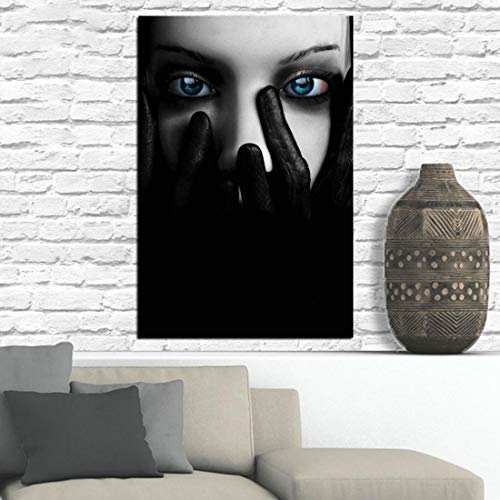 Wall art poster canvas painting painting beautiful dark blue eyes girl pictures for living room home living room bedroom corridor decoration