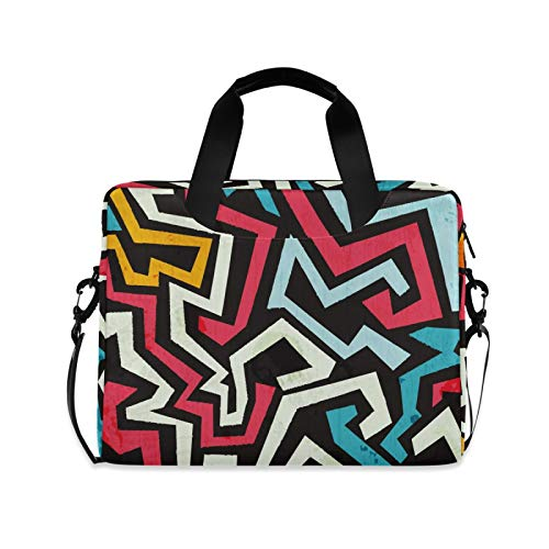 Cool Graffiti Curve Laptop Case Bag Sleeve Portable Crossbody Messenger Briefcase Attache Casew/Strap Handle, 13 14 15.6 inch