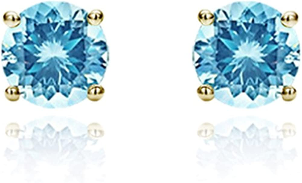 Solid 14K Gold Studs 3mm Round Cubic Zircornia Basket Setting Screwback Stud Earrings, Choice of Colors