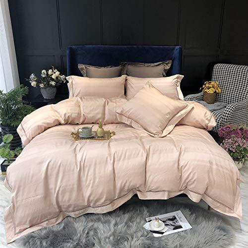 Bettwäsche Set,Amerikanische Einfachen Stil Farbe Bettwäsche Apricot Four-Piece Satz Home Textile Bettbezug Bettbezug Und Kopfkissenbezug, 1.5/1.8M