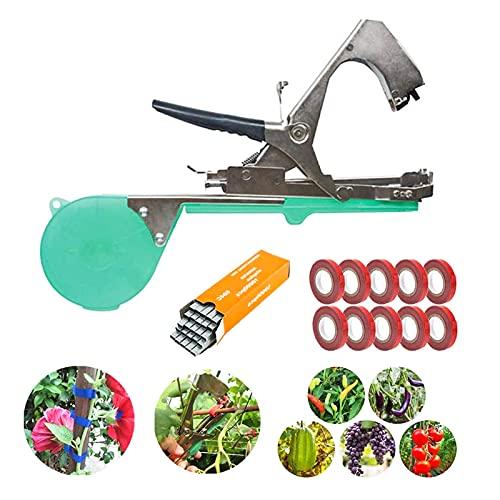 Legatrice per piante - KYYKA Attrezzo per piante da giardino per vigneto, nastro per legatura Pianta per agricoltura Tapetool Tapener con 10 rotoli di nastro e una scatola di set di punti metallici