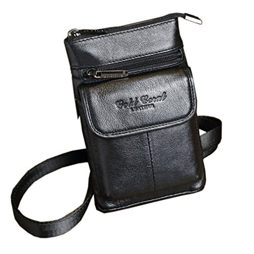 Small Leather Shoulder Bag for Men Loop Holster Waist Pack Phone Belt Bag Case...