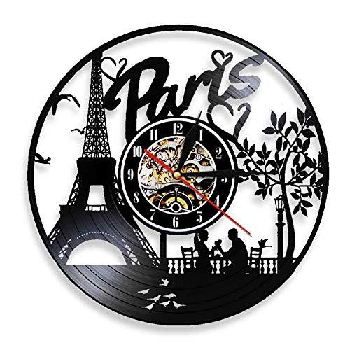 BBZZL Torre Eiffel de París, iluminación LED, Skyline de Francia, Reloj de Pared con Registro de Vinilo, Regalo de Viaje, decoración Creativa de Pared para Sala de Estar, Reloj de Pared Sin LED