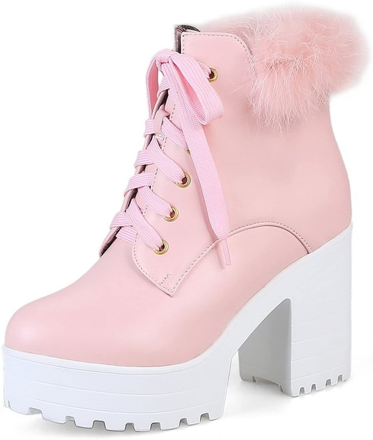 1TO9 Womens Boots Lace-Up Mid-Heel Waterproof Rubber Warm Lining Fringed Smooth Leather Fur-Lined Dress Urethane Boots MNS02554
