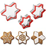 3Pcs Star Cookie Cutters, Christmas Cookie Cutters Set, 3.5'', 3'',2.4'', Thickness Heavy Duty Food-Grade Stainless Steel, Small Mini Kids Cookie Cutters with Protective Red Top PVC