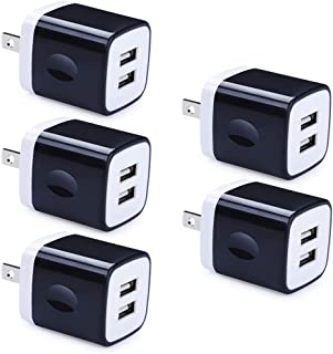 USB Wall Charger, GiGreen 5 Pack 2.1A Charging Box 2 Port Cube Charger Plug Adapter Compatible iPhone X 8 7 6 6S Plus 5S, Samsung Galaxy S10 S9 S8 Plus Note 10 9, LG G8 G7 G6 V30S, Oneplus 7 pro 6T 5