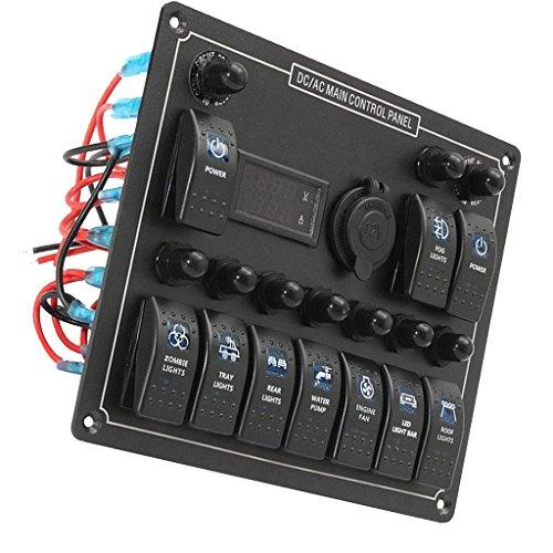 D DOLITY 1x panel de 10velocidades Interruptor Basculante Pizarra 12V 20A DC; 24V 10A Corriente Continua