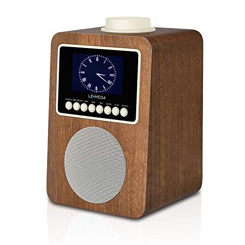 LEMEGA CR2 Dab Radio-réveil et Haut-Parleur sans Fil avec Dab, Dab +, Radio FM, Bluetooth, Alarme, Sommeil, Snooze, Horloge, AUX, Chargement USB (Noyer)