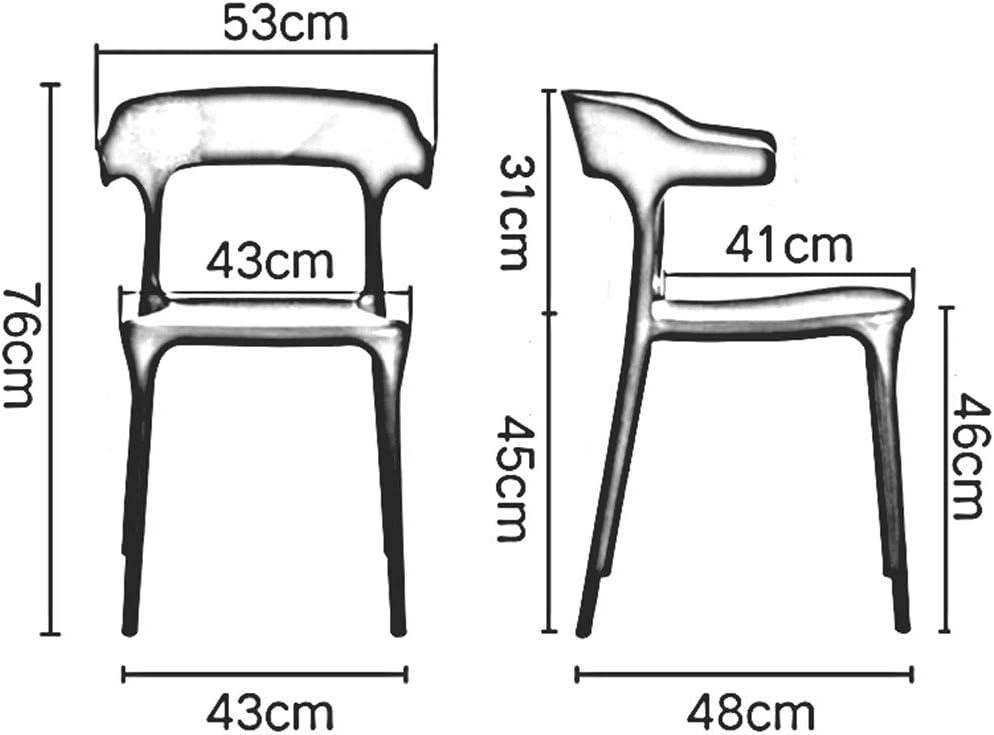 Chaise De Salle à Manger en Plastique, Chaise De Dossier Empilable, Chaises De Table avec Bras, pour Le Bureau De Café D'hôtel De Salon, 43x48x76 Cm(Color:T8) T12