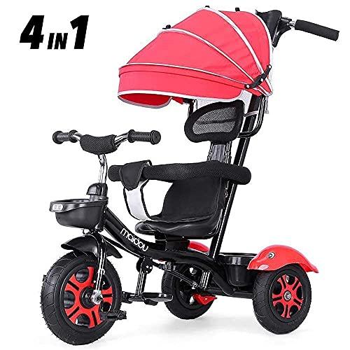 NUBAO Triciclo Triciclo Triciclo Triciclo para niños,Edad de 2 a 3 cochecitos Asiento Giratorio con Dosel Desmontable Ruedas silenciosas Pedal de pie Plegable Mango de Empuje (Color:Naranja)