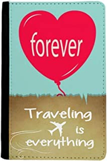 Forever Red Green Heart Valentine's Day Traveling quato Passport Holder Travel Wallet Cover Case Card Purse