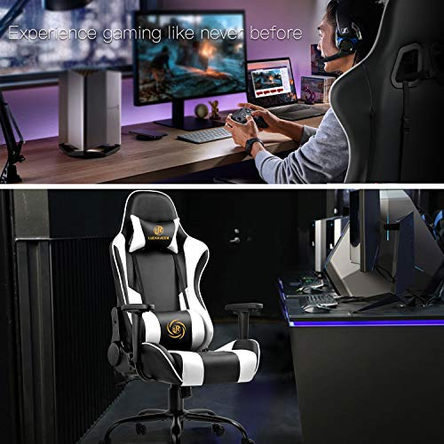 LUCKRACER Chaise Gaming Fauteuil de Bureau Pivotant Conception Ergonomique Robuste avec Coussin et Dossier inclinable (Blanc)