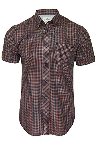 Ben Sherman Mens Shirt Mini Gingham Short Sleeved Peach XXL