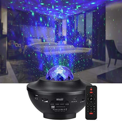 LED Sternenprojektor Sternenhimmel Lampe, Rotierende Wasserwellen Projektionslampe, BSLED kinder Nachtlicht mit Fernbedienung Musikspieler mit Bluetooth Bluetooth & Timer, für Kinder Zimmer Dekoration