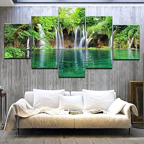 Arte sobre lienzocascada Cuadro en Lienzo Impresión de 5 Piezas Material Tejido no Tejido Impresión Artística Imagen Gráfica Decoracion de Pared Con marco ZTXZ 100x55cm