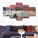 DGGDVP Pintura Abstracta Recubrimiento Paisaje 5 Piezas/Set Pintura artística sobre Lienzo Impresiones para Sala Salón Pared Decoración para el hogar Tamaño de Imagen 2 con Marco