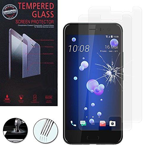 VComp-Shop® 2x Hochwertige gehärtete Panzerglasfolie für HTC U11 4G 5.5