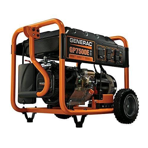 Generac 5943-0 GP7500E Series 7500/9000 Running/Starting Watt Electric Start Generator with 410cc Engine Displacement