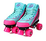 Kandy-Luscious Kid's Roller Skates - Comfortable Children's Skates with Fun Colors & Designs | Summer Days Teal and Pink | Size 7