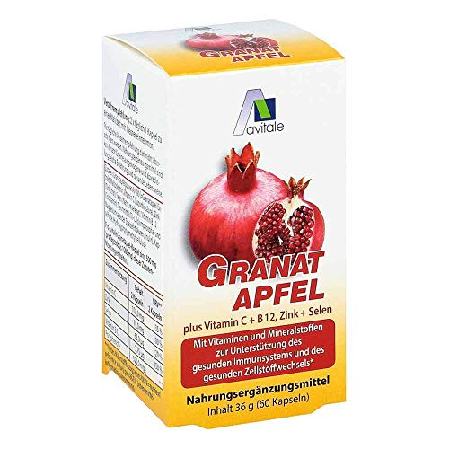 GRANATAPFEL 500 mg plus Vit.C+B12+Zink+Selen Kaps. 60 St