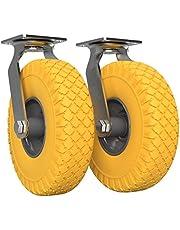 2 x Stuurbare zwenkwiel met polyurethaan wiel Ø 260 mm 3.00-4, PUNCTURE PROOF