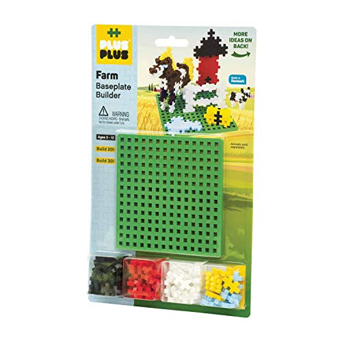 PLUS PLUS – Farm Baseplate Builder – 64 Pieces and one Base Accessory for Building and displaying - Construction Building STEM | STEAM Toy, Interlocking Mini Puzzle Blocks for Kids