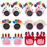 Novelty Birthday Glasses | Birthday Photo Props Funny Sunglasses | Birthday Party Favors for Kids & Adults 6 Pairs