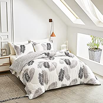 Uozzi Bedding Bed in a Bag 7 Pieces Queen Size Gray Black Leaves Print - Soft Microfiber Reversible Bed Comforter Set  1 Comforter 2 Pillow Shams 1 Flat Sheet 1 Fitted Sheet 2 Pillowcases