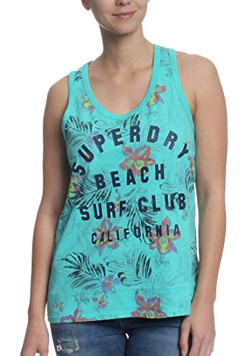 Superdry Tank Women SURF Club AOP Overdyed Vest Fluro Turquoise, maat: S