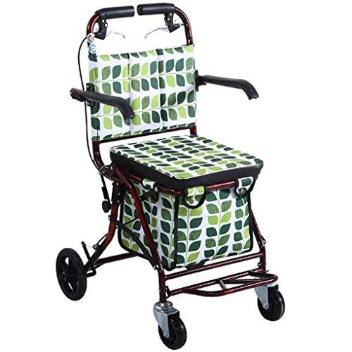 Carrito de Compras portátil Scooter Viejo Carrito de Compras Plegable El Asiento Puede Tomar Cuatro Rondas para Comprar Comida y Ayudar a Empujar Carrito pequeño Cochecito para Ancianos Carrito para