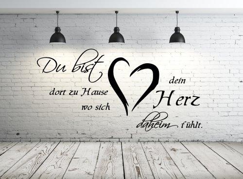 Wandtattoo 68137-58x29 cm, Zitate ~ Du bist dort zu Hause wo sich dein Herz daheim fühlt ~ Wandaufkleber Aufkleber für die Wand, Tapetensticker aus Markenfolie, 32 Farben wählbar