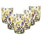 Gocce di Murano Set 6 Bicchieri Pioggia Arcobaleno in Vetro di Murano soffiato 240ml Lavorazione a Mano Colorati Confezione 6 calici per Acqua Eleganti e preziosi (Multicolore, 6)