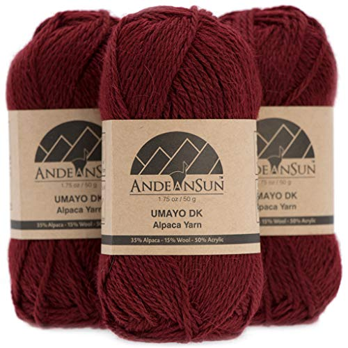 (Set of 3) Alpaca Yarn Blend UMAYO DK #3 (5.29 Ounces/150 Grams Total) Lovely and Soft to Enjoy Knitting - Crocheting - Weaving (Merlot)