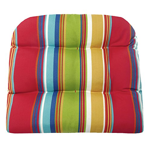 Barnett Home Decor Westport Red Wicker Chair Cushion - Size Large - Indoor/Outdoor Fade Resistant Water Repellant - Latex Foam Patio Cushion - Made in USA (Rainbow Cabana Stripe)