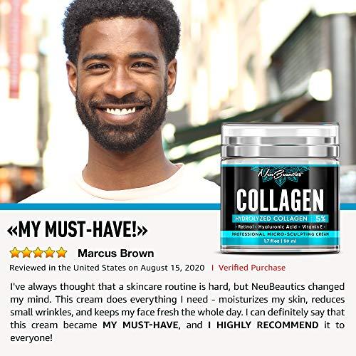 Men Collagen + Retinol Face Moisturizer   Made in USA   Natural + Organic Day and Night Cream   Anti Aging + Anti Wrinkle   5% Marine Collagen Cream with Retinol, Hyaluronic Acid, Jojoba, Avocado