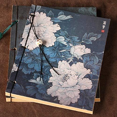 Love lamp notitieblokken pioenroos schilderboek voor kunststudenten China penseel schilderij bloem notitieblok afdekking bedrade retro vintage notebook geschenk notitieboek 19,5 * 13,5 cm notitie- dagboeken