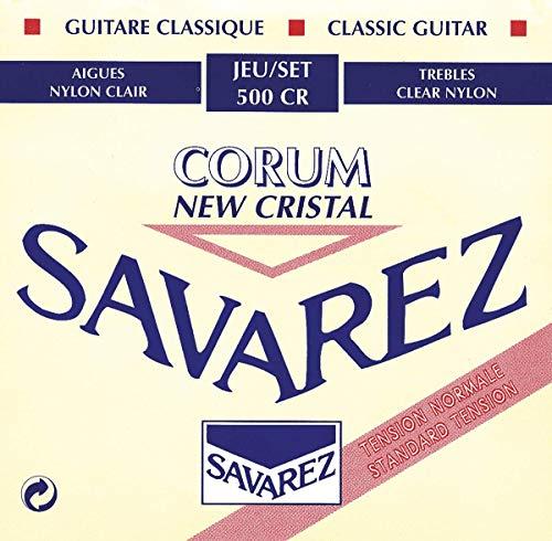 Savarez 500CR Corde per Chitarra Classica New Cristal Corum Set 500Cr Tensione Standard, Cantini New Cristal Corum Bianchi, Bassi Corum Argentati, Rosso, 6 pezzi